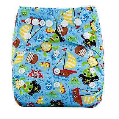 Modern Cloth Reusable Washable Baby Nappy Diaper & Insert, Turtle Pirate & Beach
