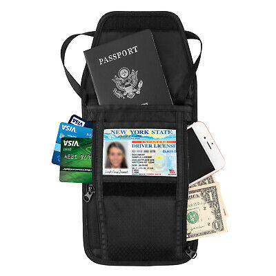 MoKo RFID Block Passport Card Holder Neck Stash Pouch Security Travel Wallet Bag