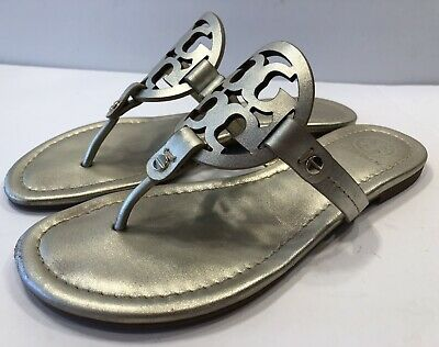 e7b566141af0 Tory Burch Miller Spark Gold Smooth Leather Thong Sandal Flats Sz 6 1 2 6.5