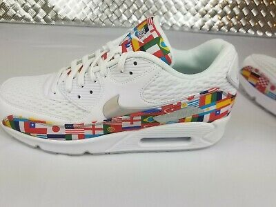 various colors 8fd60 fc943 NEW NIKE AIR Max 90 NIC QS International Flag Shoes White Mens Sz 8.5  AO5119-100