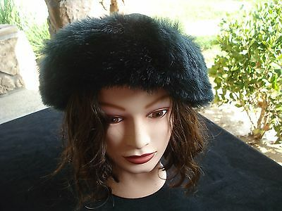 6299f1c554dd3 Vintage Black Faux Fur Winter Hat