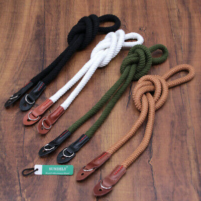 Cotton Rope Cord & Leather Camera Neck Strap 100cm