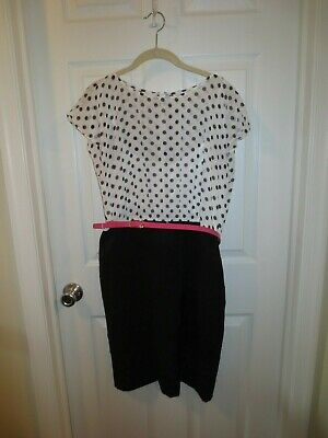 Alyx Stretch Black Dress With White Top With Polka Dots & Pink Belt Sz 14