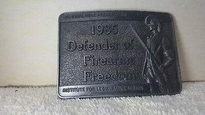 Vintage 1985 ***Nra*** Defender Of Firearms Freedom Pewter Buck - Mint - New !!!