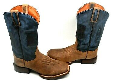 81c9ad5b785 DAN POST MENS Thin Blue Line Flag Patch Cowboy WORK Boot BROAD Square Toe  DP4515