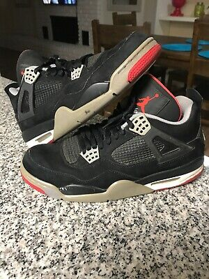 new style b950b d08bb Nike Air Jordan Iv 4 Retro Bred Black Cement Grey Fire Red White 308497-089