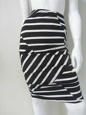 BNWT $69 PEA IN A POD sz 6/XXS stretchy ruched black/white maternity skirt