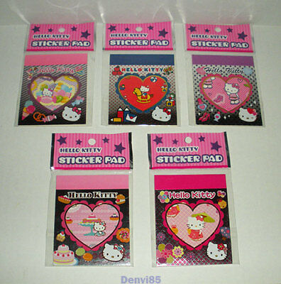 """VERY CUTE & HTF! 2010 Sanrio HELLO KITTY Lot of 5 """"Sticker Pads""""! All NEW!"""