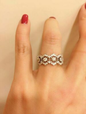 925 Silver White Sapphire Flower Ring Engagement Wedding Jewelry Rings For Women