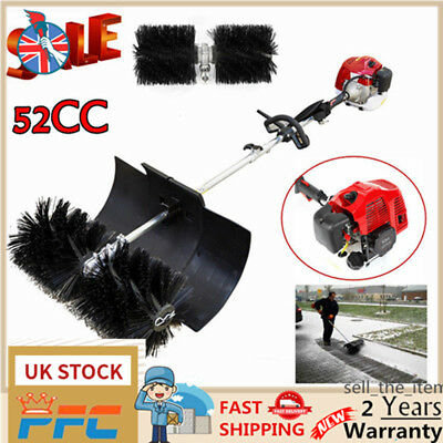 52Cc Gas Power Broom Sweeper Driveway Artificial Grass Snow Cleaner Powerful Uk