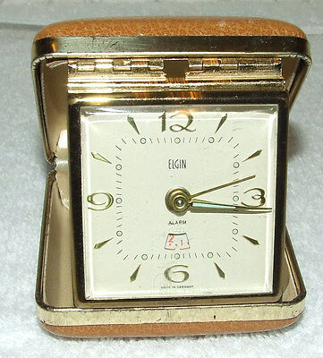 Vintage 1950's Elgin Portable Wind Travel Alarm Clock Clam Shell Case Germany