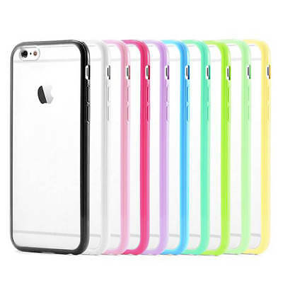 For iPhone 6S Plus 6 PlusTransparent Clear Hard Back Case Silicone Bumper Cover
