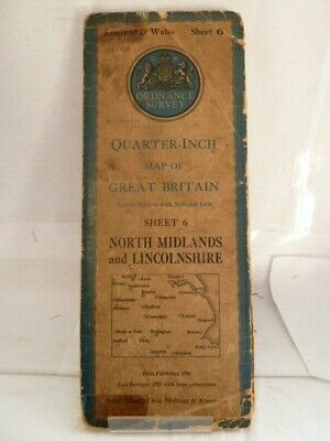 "Ordnance Survey 1/4"" Map; Sheet 6 North Midlands & Lincolnshire - Cloth 1946"