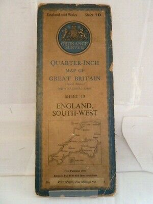 "Ordnance Survey 1/4"" Map; Sheet 10 England, South West - Paper, 1946"
