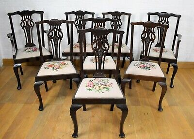 Antique vintage set of 8 Victorian dining chairs