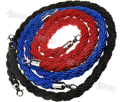 Red/Blue/Black Twisted Barrier 1.5M Rope Queue Divider Crowd Lagguge Stanchion