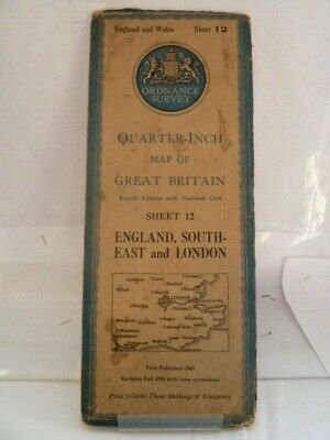 "Ordnance Survey 1/4"" Map; Sheet 12 - England, South-East & London - Cloth 1945"