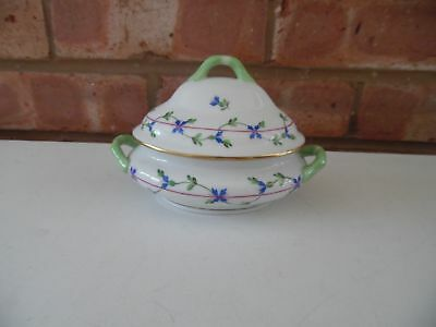 "Herend Hungary Hand Painted Small Tureen Blue and Green Floral 5"" by 4"""