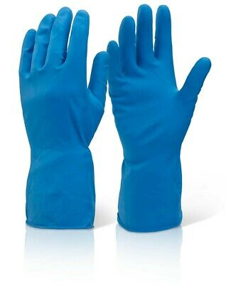 1 Pair of Blue Industrial Cleaning Washing Up Rubber Latex Gloves Med-Weight