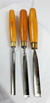 Set Of Three Gouges / Chisels / Wood Carving By Marples Sheffield Uk. G+