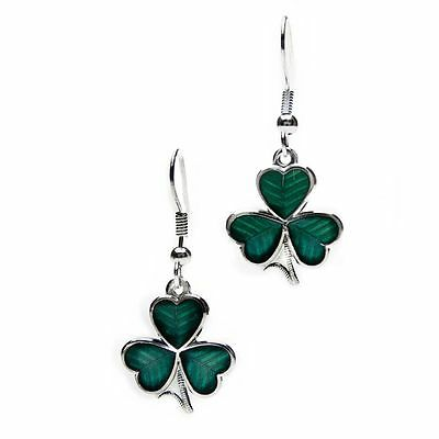 New Celtic Lands Silver Tone Green Enamel Irish Shamrock Earrings in Gift Box