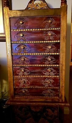 Hand Carved, Highboy Jewelry Cabinet, Mexican Wood,  Amazing Condition 2 piece