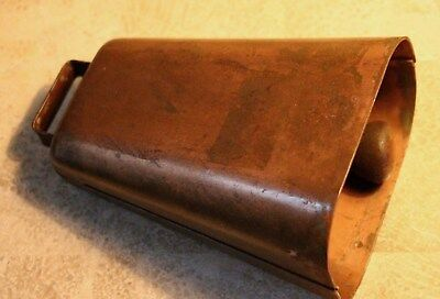 Vintage Weathered 2 lb Copper Color 7 3/8 Inch Tall Farm Cow Bell Large Clapper