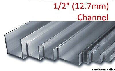 "ALUMINIUM CHANNEL U  PROFILE 1/2"" (12.7mm), 3 variations, Lengths 100mm - 2500mm"