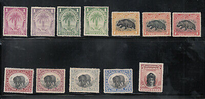 Liberia # 54-63 + 54a 60a Color Varieties MINT 1897-1905 Fauna Elephant Hippo