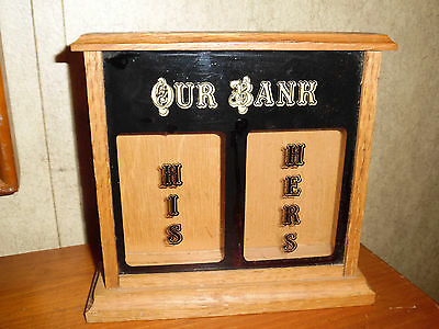 His And Hers Coin Trick Bank Vintage Novelty Humor