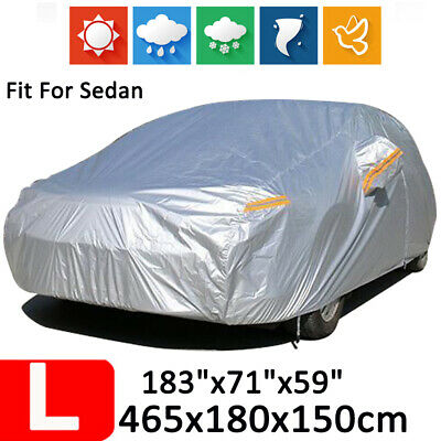 L 190T Full Car Cover Waterproof Outdoor Dust Scratch Rain Protection For Sedan