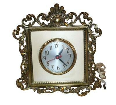 """Sessions Clock Co Gold Leaf Clock 9"""" x 8"""" - Works Great!"""