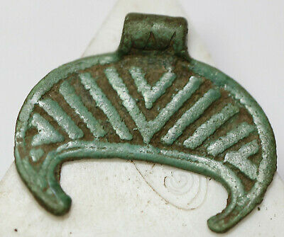 Ancient Viking Bronze pendant AMULET  moon GREAT SAVE