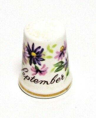 Aster Flower Of The Month Of September Porcelain Thimble