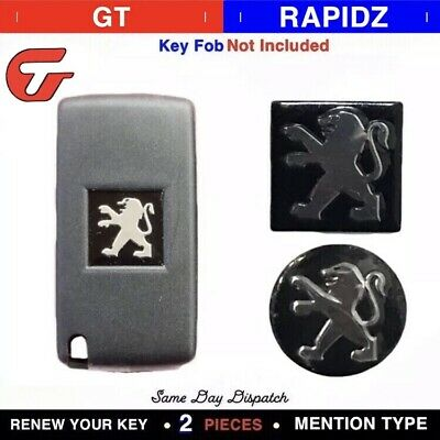 2x Replacement Emblem Sticker Logo for PEUGEOT KEY FOB REMOTE **15MM Or 14mm**