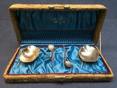 set 1883 Gorham Shell Narragansett Salt Cellars Spoons Sterling Silver Antq Box