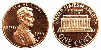 1975 S GEM BU PROOF Lincoln MemoriaL BRILLIANT UNCIRCULATED PENNY US COIN PF