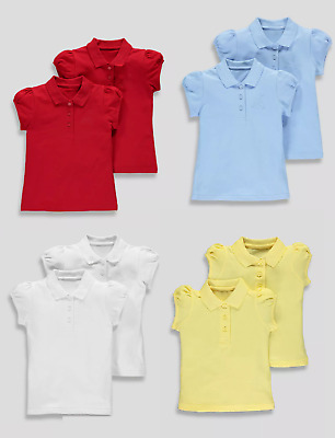 Girls 2 Pack School Polo Shirts 100% Cotton Uniform Kids Rouched Sleeves
