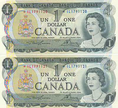 Bank Of Canada Lot Of 2 In A Row Replacement Notes 1 Dollar 1973 - Au/Unc