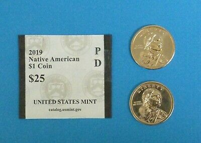 2019 D & P Sacagawea Native American  $1 Dollar UNC Coin Set - 2 coins Ship Free