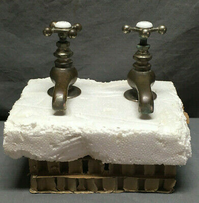 Antique Pair Nickel Brass Separate Hot Cold Faucets Vtg 15-19L
