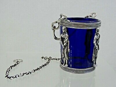 RARE 18 century SILVER ICON VIGIL LAMP LAMPADA BLUE GLASS LINER sterling