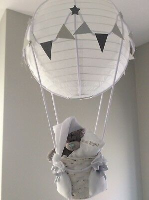 Me to you Teddy in a hot air balloon nursery, silver grey. Made to order