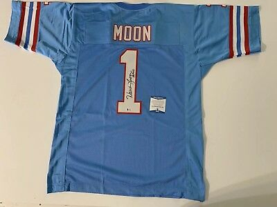 new arrival ff9d8 e2975 WARREN MOON AUTOGRAPHED/SIGNED Jersey BEckett COA Houston Oilers