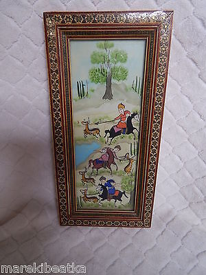 Antique Persian Miniature Hunting Scene Painting, Khatam Marquetry  Frame