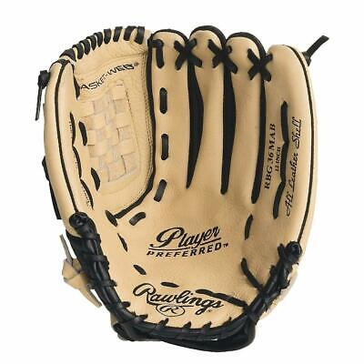 """Rawlings Player Preferred Series 12"""" Leather Baseball Glove, Right Hand Thrower"""