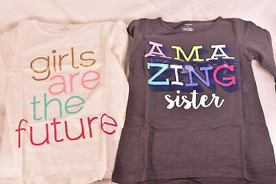 (2) Toddler Girl's Carters Long Sleeve Graphic T Shirts  Amazing Sister & Future