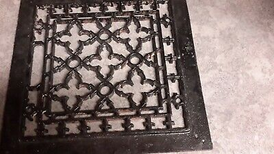 "Antique Cast Iron Decorative Heat Vent Grate Cover Hardware Salvage - 9-3/4"" sq"