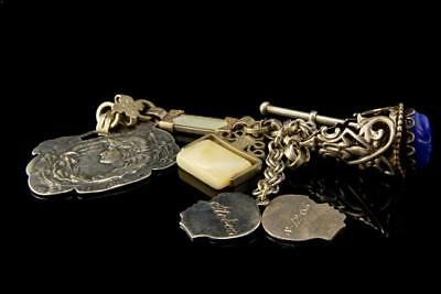 Antique Art Nouveau Victorian Silver Sterling 5 Fobs Warch Chain