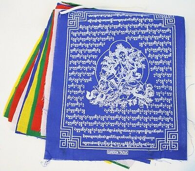 Tibetan Prayer Flag Green Tara Remover of Obstacles & Fears 1 String of 10 Flags